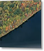 An Aerial View Of A Forest In Autumn Metal Print by Heather Perry