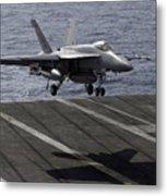 An Fa-18e Super Hornet Prepares To Land Metal Print by Stocktrek Images