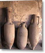 Ancient Wine Clay Vases  In A Wine Metal Print by Richard Nowitz