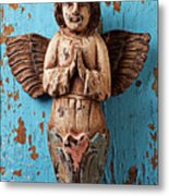 Angel On Blue Wooden Wall Metal Print by Garry Gay