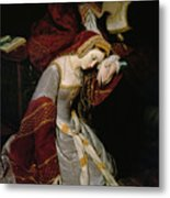 Anne Boleyn In The Tower Metal Print by Edouard Cibot