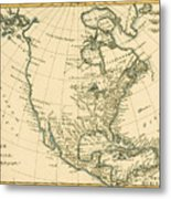 Antique Map Of North America Metal Print by Guillaume Raynal