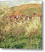 Apple Trees In Blossom Metal Print by Claude Monet