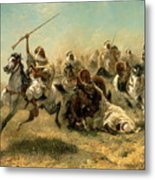 Arab Horsemen On The Attack Metal Print by Adolf Schreyer