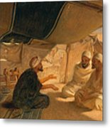 Arabs In The Desert Metal Print by Frederick Goodall