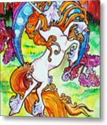 Artsy Nouveau Unicorn Metal Print by Jenn Cunningham