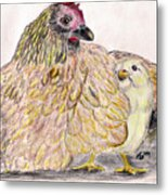 As A Hen Gathereth Her Chickens Under Her Wings Metal Print by Marqueta Graham