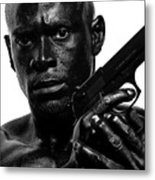 Assassin In Black And White Metal Print by Val Black Russian Tourchin