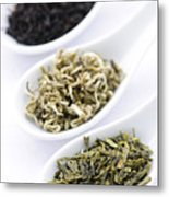 Assortment Of Dry Tea Leaves In Spoons Metal Print by Elena Elisseeva