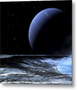 Astronaut Standing On The Edge Metal Print by Frank Hettick