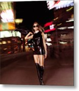 Attractive Young Woman Walking Down The Street At Night Metal Print by Oleksiy Maksymenko