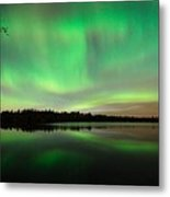Aurora Over Tofte Lake Metal Print by Larry Ricker