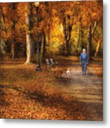 Autumn - People - A Walk In The Park Metal Print by Mike Savad