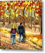 Autumn  Stroll On Mount Royal Metal Print by Carole Spandau