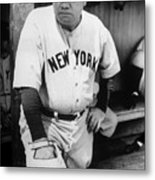 Babe Ruth In The New York Yankees Metal Print by Everett