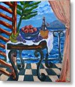 Balcony By The Mediterranean Sea Metal Print by Karon Melillo DeVega