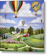 Ballooning In The Country One Metal Print by Linda Mears