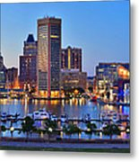 Baltimore Skyline Inner Harbor Panorama At Dusk Metal Print by Jon Holiday