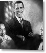 Barack Obama Martin Luther King Jr And Malcolm X Metal Print by Ylli Haruni
