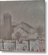 Barn In Fog Metal Print by David Bearden