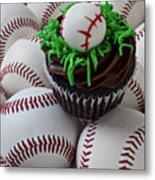 Baseball Cupcake Metal Print by Garry Gay