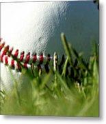 Baseball In Grass Metal Print by Chris Brannen