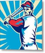 Baseball Player Batting Retro Metal Print by Aloysius Patrimonio
