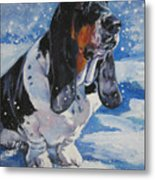 basset Hound in snow Metal Print by Lee Ann Shepard