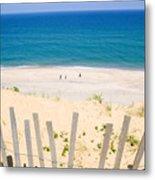 beach fence and ocean Cape Cod Metal Print by Matt Suess