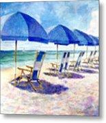 Beach Umbrellas Metal Print by Andrew King
