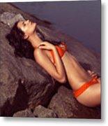 Beautiful Young Woman In Orange Bikini Metal Print by Oleksiy Maksymenko