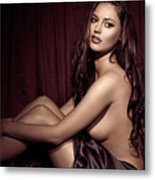 Beautiful Young Woman Sitting Naked In Bed Metal Print by Oleksiy Maksymenko