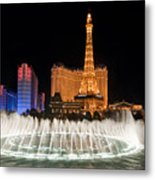 Bellagio Fountains Night 1 Metal Print by Andy Smy