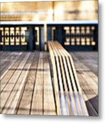 Benches At The High Line Park Metal Print by Eddy Joaquim