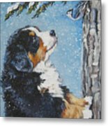 bernese Mountain Dog puppy and nuthatch Metal Print by Lee Ann Shepard