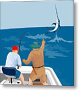 Big Game Fishing Blue Marlin Metal Print by Aloysius Patrimonio