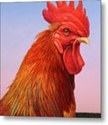 Big Red Rooster Metal Print by James W Johnson