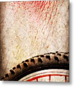 Bike Wheel Red Spray Metal Print by Silvia Ganora