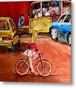 Biking To The Orange Julep Metal Print by Carole Spandau