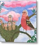 Bird People The Chaffinch Family Metal Print by Sushila Burgess