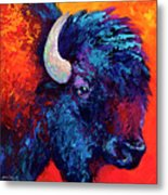 Bison Head Color Study II Metal Print by Marion Rose