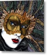 Black And Gold Carnival Mask Metal Print by Patty Vicknair