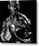 Black Boxer In Black And White 05 Metal Print by Val Black Russian Tourchin