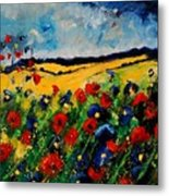Blue And Red Poppies 45 Metal Print by Pol Ledent