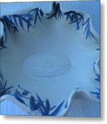 Blue Bamboo Bowl Metal Print by Julia Van Dine
