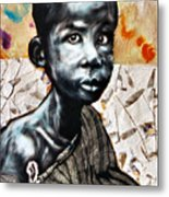 Blue Boy In A Big Sweater Metal Print by Chester Elmore