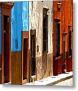 Blue Casa Row Metal Print by Mexicolors Art Photography