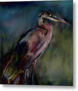 Blue Heron Painting II Metal Print by Don  Wright