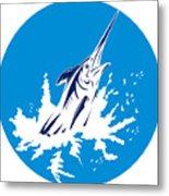 Blue Marlin Circle Metal Print by Aloysius Patrimonio