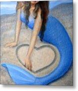 Blue Mermaid's Heart Metal Print by Sue Halstenberg